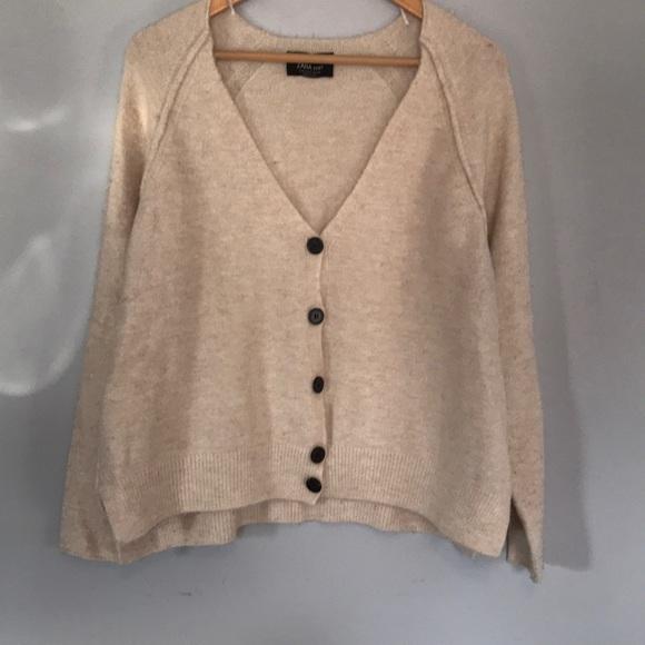 97c72313fce Zara knit cream button up cardigan sweater medium